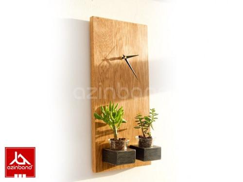 ساعت دیواری چوبی طرح گلدان