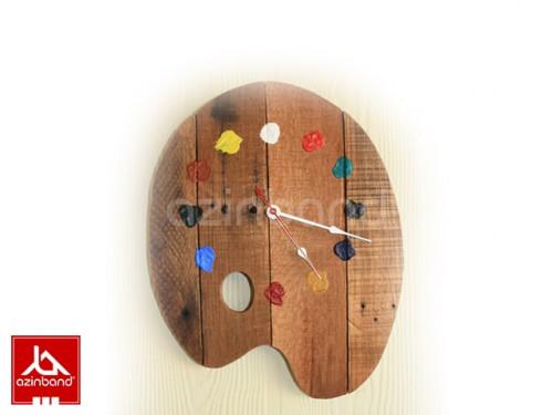 ساعت چوبی طرح پالت رنگ