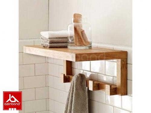 شلف چوبی حمام طرح ساده