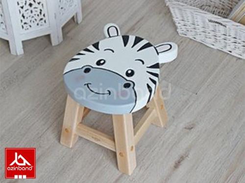 صندلی کودک چوبی طرح گورخری