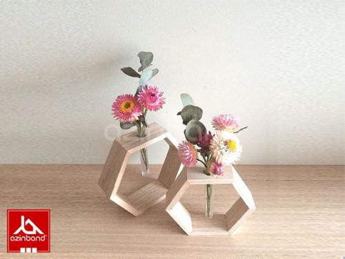 گلدان شش ضلعی تک شاخه ای