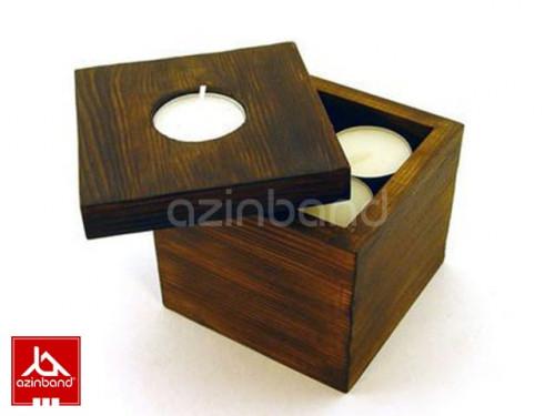 شمعدان مخزن دار چوبی